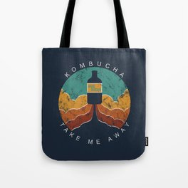 "KOMBUCHA ""Take Me Away"" Rocket // Mushroom Tea Graphic Design Scoby Health Drink Bubble Scooby Tote Bag"