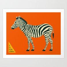 Z is for Zebra Art Print