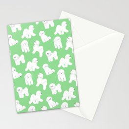 Bichon Frise Pattern (Green Background) Stationery Cards