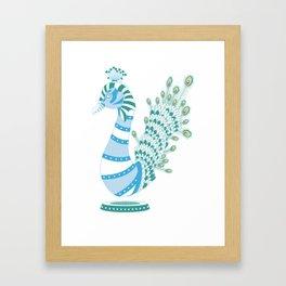 Robot Peacock Framed Art Print