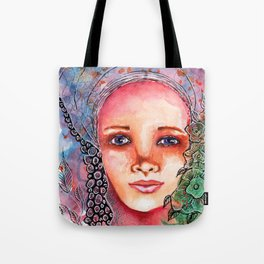 Flower Beauty   Whimsical face with flowers. Floral. Watercolor Tote Bag