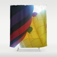hot air balloons Shower Curtains featuring Hot Air Balloons by merialayne