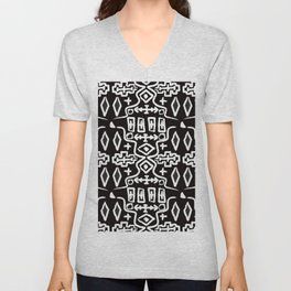 Abstract Mudcloth in Black + White Unisex V-Neck