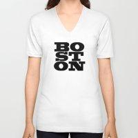 boston V-neck T-shirts featuring Boston by Jeremy Jon Myers