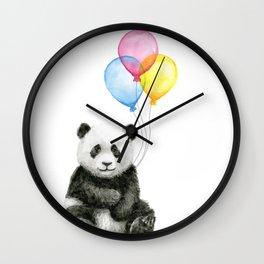 Panda Baby with Balloons Whimsical Nursery Animals Wall Clock
