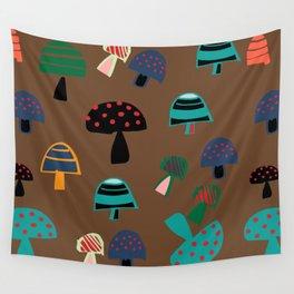 Cute Mushroom Brown Wall Tapestry