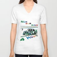 1975 V-neck T-shirts featuring 1975 BMW Victory at 4 Hours of Nürburgring by DailyTurismo