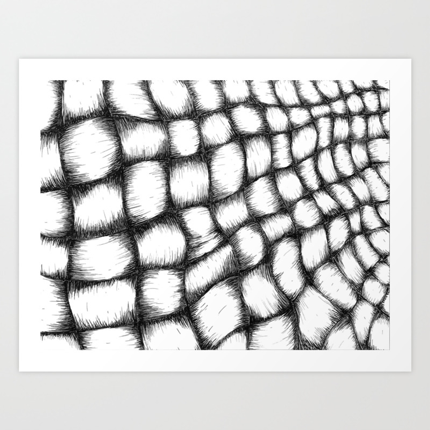 Black and white basket weave art print by elletra society6