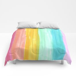 rainbow stripes pastel in the spring Comforters