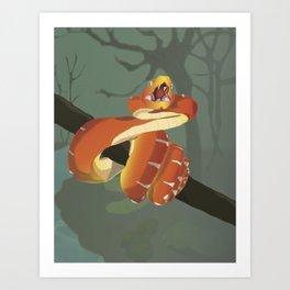 Orange Snake Art Print