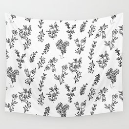 Floral White Pattern Wall Tapestry