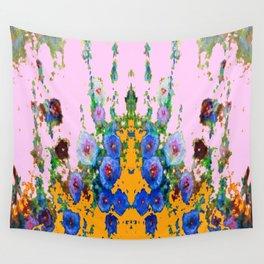 BLUE HOLLYHOCKS WESTERN  GARDEN Wall Tapestry