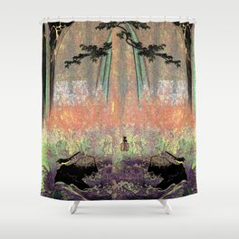 Japanese Wagtail by Waterfall Shower Curtain