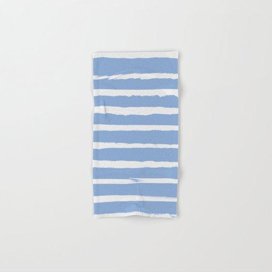 Irregular Hand Painted Stripes Light Blue Hand & Bath Towel