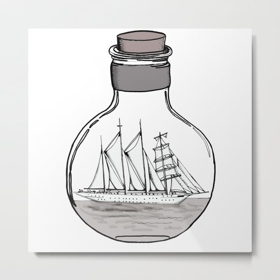 the ship in the bulb Metal Print