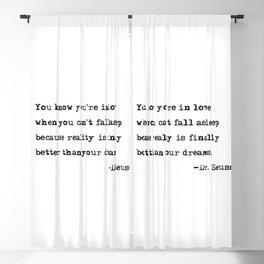 You know you're in love - Dr. Seuss quote Blackout Curtain