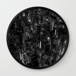 Night city glow B&W / 3D render of night time city lit from streets below in black and white Wall Clock