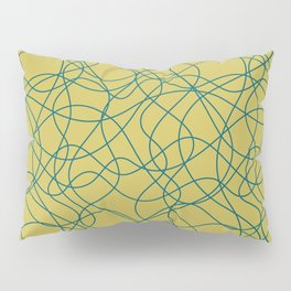 Tropical Dark Teal Scribbled Lines Abstract Hand Drawn Mosaic Pattern Inspired by Sherwin Williams 2020 Trending Color Oceanside SW6496 on Dark Yellow Pillow Sham