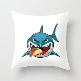 "Perfect Gift For Any Tacos Lovers Or For Those Who Have Big Appetite ""Shark Eating Tacos"" T-shirt Throw Pillow"