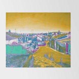 Manipulated photograph of an old town in yellow, blue, magenta and purple gradient Throw Blanket