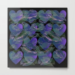 Blue Ombre Heart and Cold Kisses Pattern On Black Metal Print