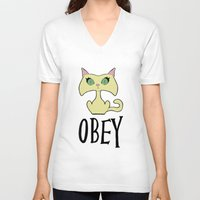 obey V-neck T-shirts featuring Obey by arlas2000