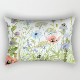 Floral Watercolor Botanical Cottage Garden Flowers Bees Nature Art Rectangular Pillow