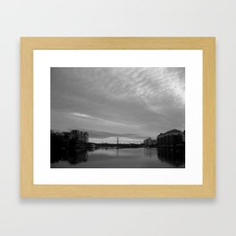 Dublin Morning Black & White Framed Art Print