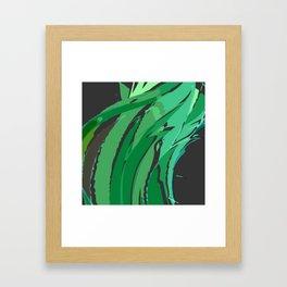 Dark Green Abstract Waves Framed Art Print
