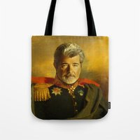 replaceface Tote Bags featuring George Lucas - replaceface by replaceface