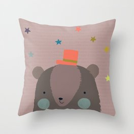 Big Bear and Bluebird Pink Throw Pillow