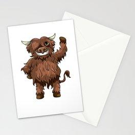 Happy Highland Cow Kawaii Cartoon Style Stationery Cards