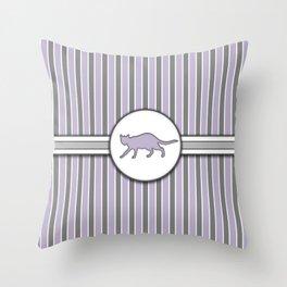 Cat on Purple Stripes Pattern Design Throw Pillow