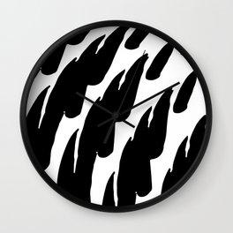 Black Abstract Brush Marks Wall Clock