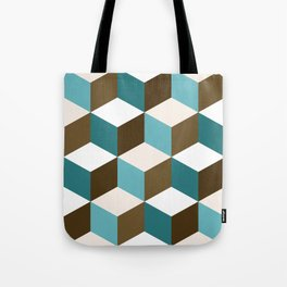 Cubes Pattern Teals Browns Cream White Tote Bag