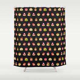 Strawberry Matcha - black Shower Curtain