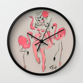 Flamingo Showgirl Wall Clock
