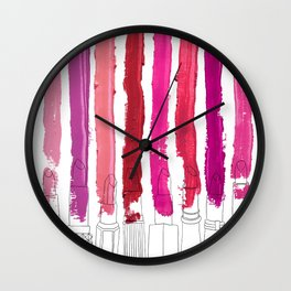 Lipstick Stripes - Floral Fuschia Red Wall Clock