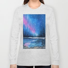 """Lavender Lights"" Aurora Borealis watercolor painting Long Sleeve T-shirt"