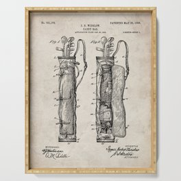 Golf Bag Patent - Caddy Art - Antique Serving Tray