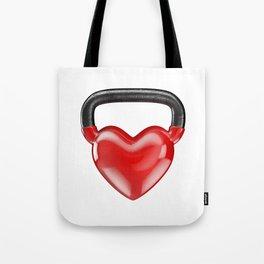 Kettlebell heart vinyl / 3D render of heavy heart shaped kettlebell Tote Bag
