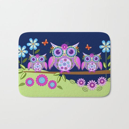 Flower power owls in a summer environment Bath Mat