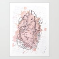 anatomical heart Art Prints featuring Anatomical Heart by Sumi Senthi
