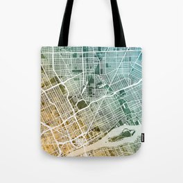 Detroit Michigan City Map Tote Bag