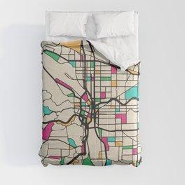 Colorful City Maps: Portland, Oregon Comforters