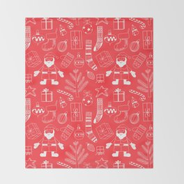 Doodle Christmas pattern red Throw Blanket