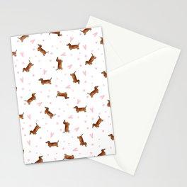 Dachshund Pattern - White Stationery Cards