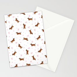 Dachshund Pattern - White Stationery Cards