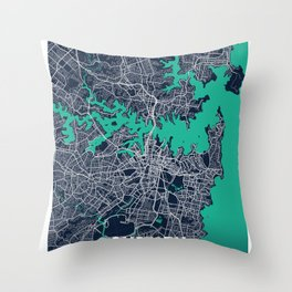 Sydney Blue Dark Color City Map Throw Pillow