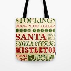 Subway Style Christmas Words Tote Bag